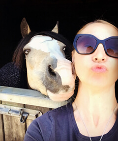 Marianne and horse making kissing faces